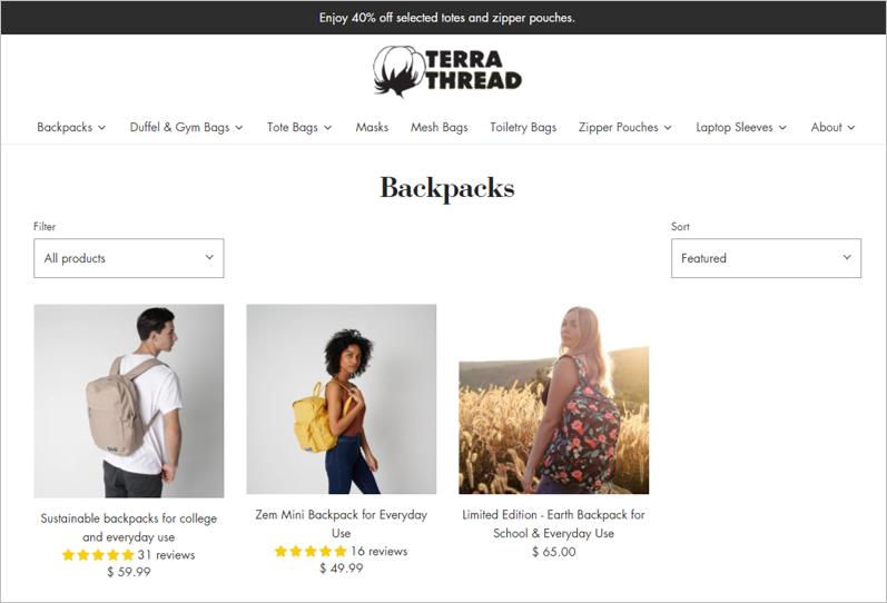 terra thread eco friendly backpacks