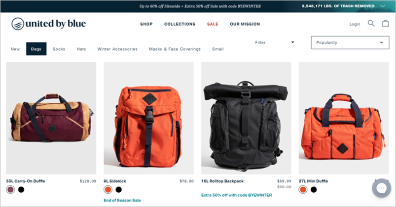 united by blue eco friendly backpacks