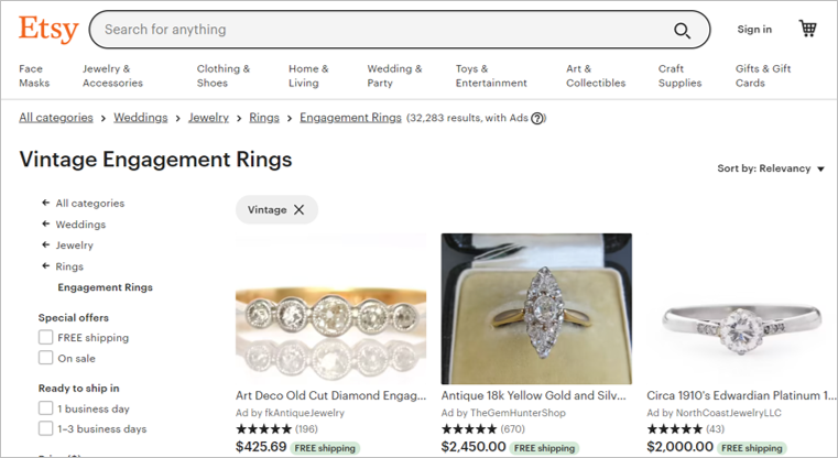 etsy sustainable engagement rings
