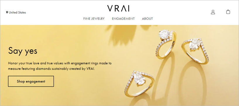 vrai sustainable engagement rings