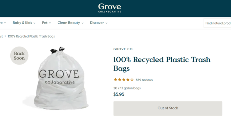 grove recycled trash bags sustainable office supplies