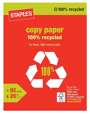 staples recycled copy paper sustainable office supplies